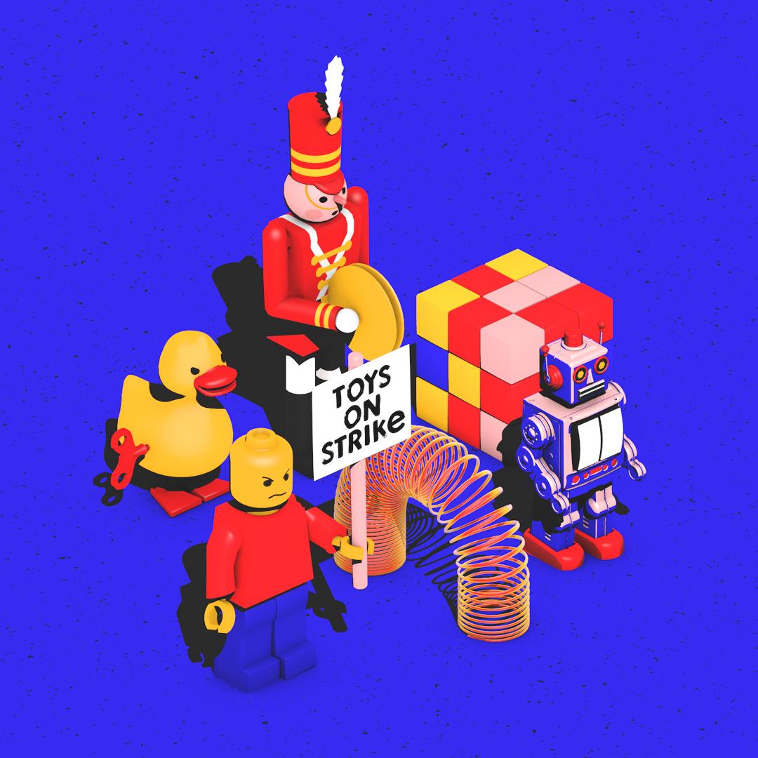 toys on strike motion global scene